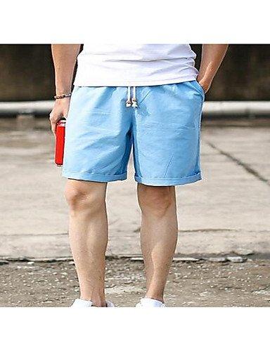 Da uomo Premaman Taglia piccola Pantaloncini Pantaloni-Semplice Casual Tinta unita A vita medio-alta A cordoncino Cotone Micro-elastico White