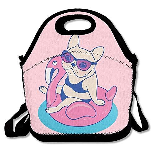 Frenchie genießt Sommer auf Flamingo Pool Float im Pool Lunch Bags Isolierte Picknick Lunchbox Tote Handtasche mit Schultergurt für Frauen Teens Mädchen Kinder Erwachsene 16 x 24,40 cm x 60 cm