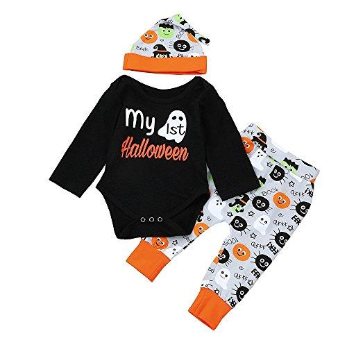 HUHU833 ❆Halloween Neugeborene Baby Kinder Mädchen Kleinkind Lange Hülsen Outfits Kleider Spielanzug Tops + Hosen + Hut 3 Stück Herbst Ausstattungs Kleidungs Sätze (70CM-0-6M, Schwarz)