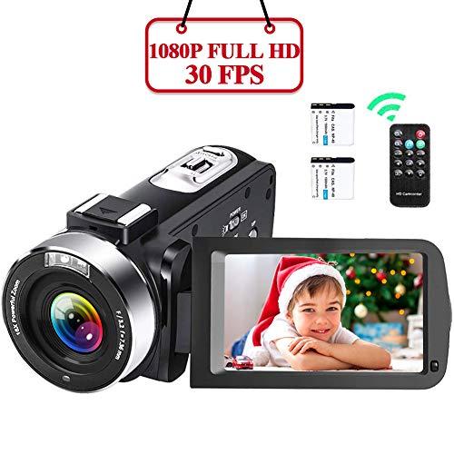 Videokamera 1080P Camcorder Full HD 30FPS Video Camcorder 16X Digitalzoom 24MP Videokamera Für YouTube 3 Zoll IPS 270 Grad Rotationsbildschirm Vlogging Kamera