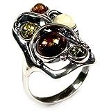 Mehrfarbiger Bernstein Sterling Silber Designer Ring