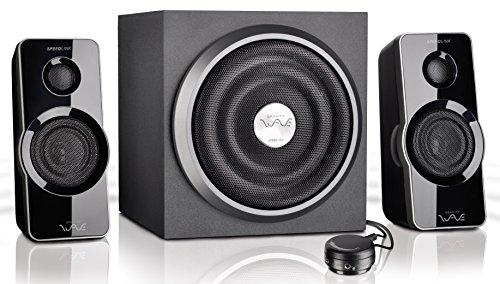 Speedlink Gravity Wave X aktives 2.1 Lautsprechersystem (35 Watt RMS Gesamtleistung, Tischfernbedienung, Subwoofer mit Holzgehäuse) schwarz (Box Gravity)