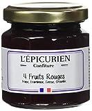 L'Epicurien Fruits Rouges Fraise/Cerise/Framboise/Groseille Confiture 125 g - Pack de 6
