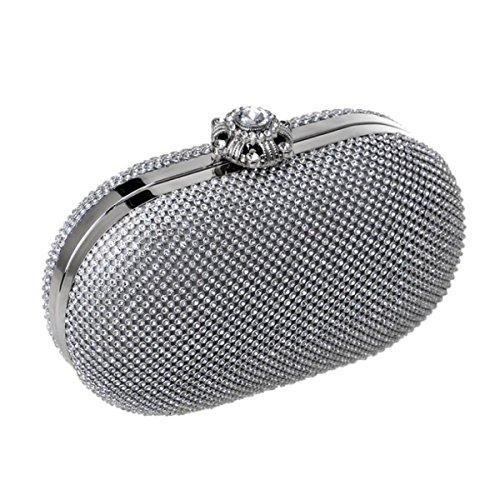 Donne Diamanti Borse Abiti Eleganti Abiti Serate Moda Eleganza Lusso Mini Borsa A Tracolla Silver