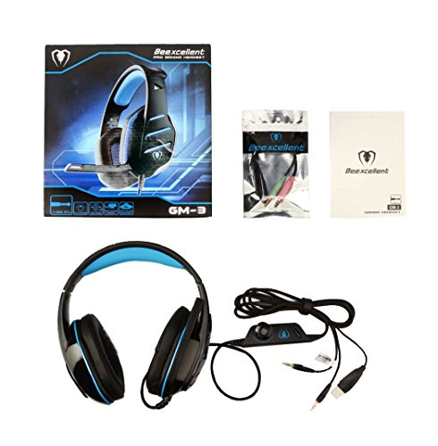 Beexcellent Gaming-Kopfhörer mit Mikrofon LED-Licht PS4 Headset Pro Stereo-Kopfhörer Over-Ear-Bass Noise Canceling Kompatibel mit Handy-Spiel PC Multimedia Laptop Mac PS3 Xbox One GM-3 blau …