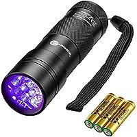 TaoTronics Black Light, UV Blacklight Flashlights, 12 LEDs 395nm, 3 AAA Batteries, for Pets Urine and Stains Detector