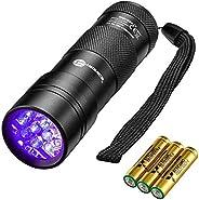 TaoTronics Black Light, UV Blacklight Flashlights, 12 LEDs 395nm, 3 AAA Batteries, for Pets Urine and Stains D