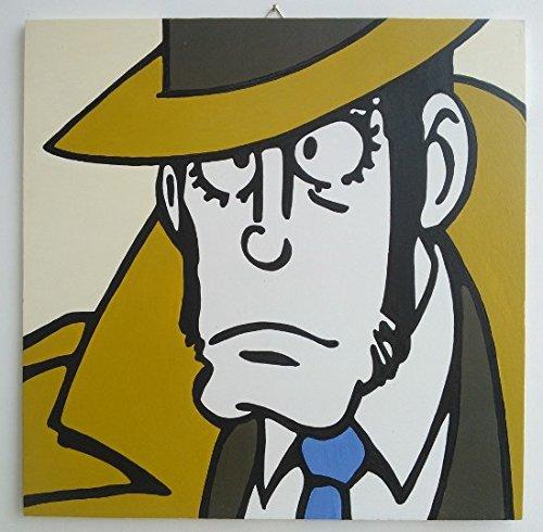 INSPECTEUR LACOGNE ZENIGATA (série EDGAR DE LA CAMBRIOLE / RUPAN, WOLF, LUPIN III 3rd ) Tableaux moderne peinte par l'artiste Fratta - décorative acrylique sur bois - effet pop art moderne - prêt à accrocher - (FORMAT 40 X 40 CM)
