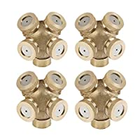SYOOY 4Pcs 4 Hole Brass Misting Nozzles Garden Sprinklers Irrigation Fitting Water Connector for Outdoor Garden