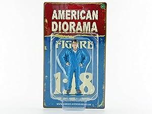 American Diorama-77444-Figura mecánico-John-Escala 1/18-Azul