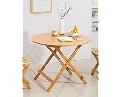 Table Salle à Manger Pliable Petit Table d'appoint Ronde Bambou Bureau d'ordinateur Portable Plateau de Snack Table de Cuisin