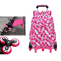 Adanina Geometric Prints Primary School Student Rolling Backpack Boys Book Bag with Wheels Trolley Bag for Boys