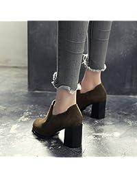 FUFU Zapatos de mujer Frosted Otoño Invierno Confort Talones Tacón Chunky Toe Ronda Para Casual Negro Ejército Verde ( Color : 1002 , Tamaño : EU39/UK6/CN39 )