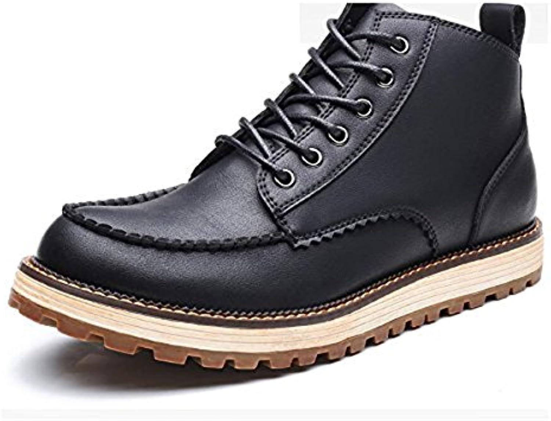 LQV Männer Neue Trend Martin Stiefel Mode Wilden Casual Leder Stiefel Sehnen Unten weissh und Bequem Rutschfeste