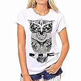 Swallowuk Damen Casual T-shirt Eule Drucken Kurz Ärmel Oansatz Tops (M, Weiß)