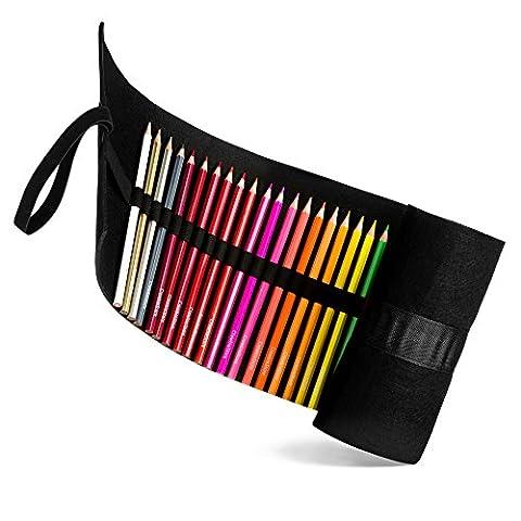 Lot de 48crayons de couleur avec enrouleur de feutre de laine en gris ou Noir. Couleurs assorties. Crayons, support de rouleau et organiseur. pour adultes et enfants. croquis, dessin d'écriture, d'art Wrap.