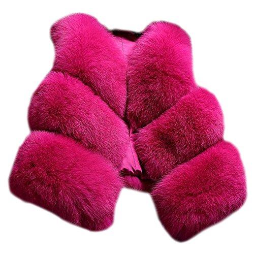 Donna Corti Parka Gilet Invernale Cappotto Di Falso Pelliccia Senza Maniche Giacchetto Giubbotto Cardigan Giacca Rose