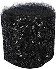 Goelx Fashion Sequin Net Laces Black for dress/sarees/lehangas/caps/bags/decorations/ borders, crafts, any many more.. pack of 2 meters