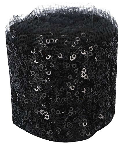 Goelx Fashion Sequin Net Laces Black for dress/sarees/lehangas/caps/bags/decorations/ borders