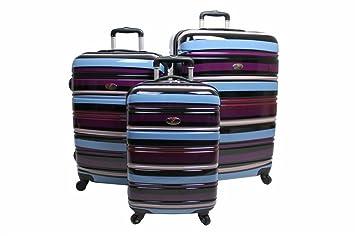 Swiss Case 4 Wheel 3 Pc Hard Suitcase Set PURPLE: Amazon.co.uk ...