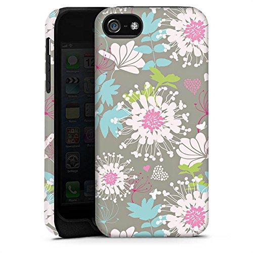 Apple iPhone X Silikon Hülle Case Schutzhülle Blumen Dekor Oldschool Tough Case matt