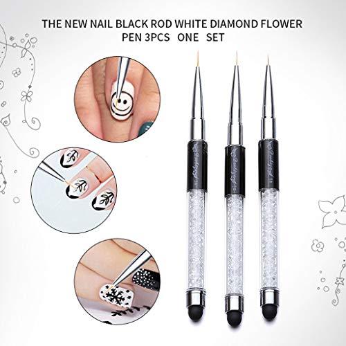 SMILEQ® 3 stücke Professionelle Nail Art Zeichnung Malerei Stift Pinsel Detailer Liner Brush (Mehrfarbig)
