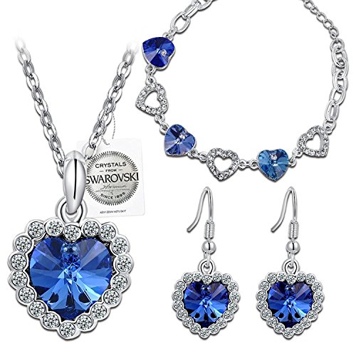 PAULINE & MORGEN Blue Love Jewelry Set Necklace Pulsera Pendientes para Mujer con Cristal Swarovski, Viene en Swarovski Seal y Caja de Regalo, Libre de Níquel aprobó la Prueba SGS