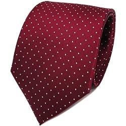 TigerTie diseñador corbata de seda - rojo burdeos plata lunares
