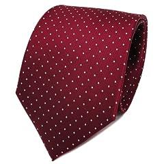 Idea Regalo - TigerTie - Cravatta in seta - rosso bordò argento a pois - Cravatta in seta