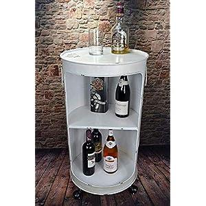 Livitat® Regal Beistelltisch Ölfass Tonne H80 cm Industrie Look Loft Vintage Retro Weiß LV5025