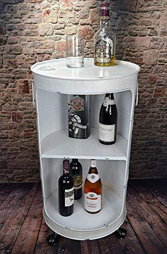Livitat® Regal Beistelltisch Ölfass Tonne H80 cm Industrie Look Loft Vintage Retro Weiß