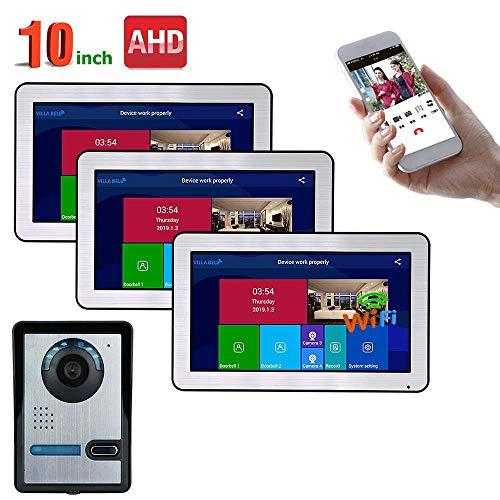XH&XH 10 Zoll intelligente Video-Türklingel Telefon Walkie Talkie Entry Monitoring System mit AHD 720P verkabelt IR-Cut Infrarot Nachtsicht Kamera Unterstützung Remote APP Intercom/Unlock/Aufnahme Remote-video-monitoring-system