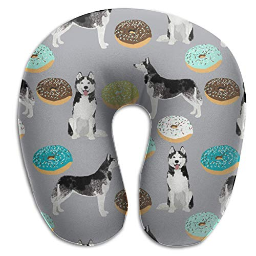 Great Gifts U Shaped Memory Foam Reisekissen und Nackenkissen Neck Head Cushion Support Rest Outdoors Car Office Home Travel Pillow - Grey Blue Donut Dog -