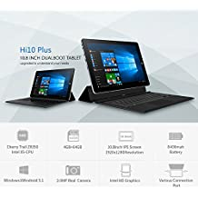 CHUWI HI10 PLUS 10.8 pulgadas Tablet PC Windows 10 + Android 5.1 Intel Cereza Trail X5 Z8350 Quad Core 1.44GHz 4GB RAM 64GB ROM Tipo C Cámaras HDMI