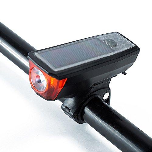 Melodycp LED Wasserdicht Fahrrad-Lampe 1x Ultra Hohe Helligkeit Vorne LED, mit Superior Festen Halterung, USB Achtung Lampe vor Dem Laden, Solar Horn Lampe