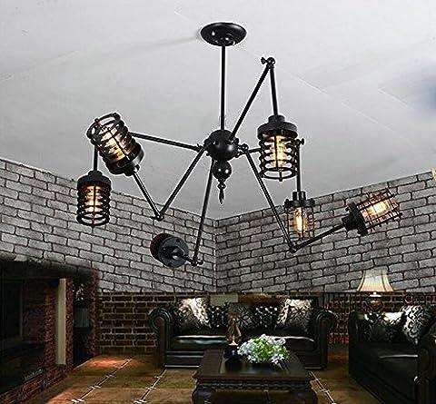 FGSGZ Le Moderne Novateur Lustres Anciens Industriels Et Ventilateur Fer À Repasser Spider Lights Noir Diam.65CM