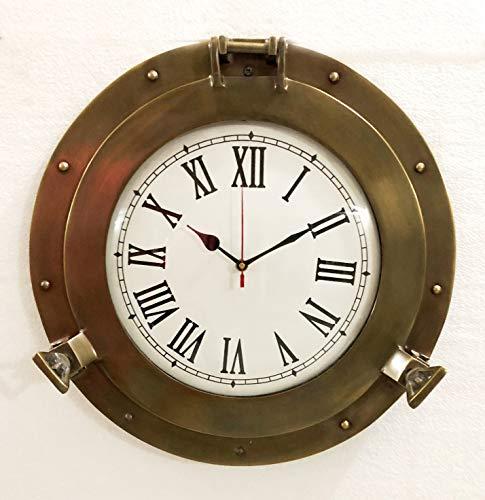 Vintage Navigation Marine Schiffe Messing Bullauge Uhr 38,1cm Schiff Fenster WANDUHR (Schiff Der Marine Uhr)