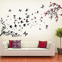Walplus - Set di adesivi da parete: mod. WS5034 (boccioli), mod. WS5036 (ramo in fiore con farfalle nere 3D Butterfly) - Fiori E Farfalle