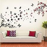 Walplus  WS5034-WS5036  Set di adesivi da parete: boccioli, ramo in fiore con farfalle nere 3D Butterfly