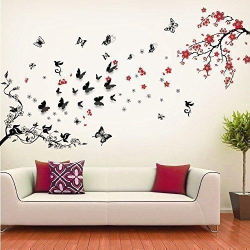 COM – Walplus Wandaufkleber Wanddekor Papier Kunst Deko 3D Schmetterling Blüte Blume Wein