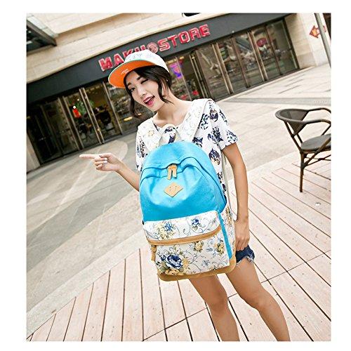 Zaino scolastico dello zaino di viaggio casuale floreale per le ragazze / sacchetto scolastico delle donne leggere Azzurro