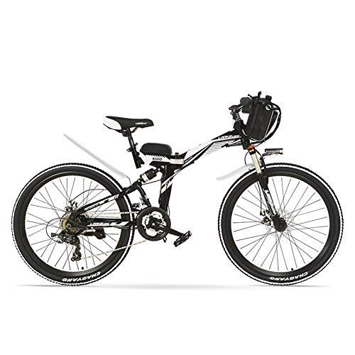 ZDDOZXC K660D 26 Zoll starkes leistungsfähiges E-Fahrrad, 48 V 12AH 500/240 W Motor, Vollfederung, Rahmen aus Kohlenstoffstahl, Pedalunterstützung, elektrisches Klappfahrrad, Scheibenbremse, Pedelec.