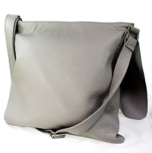 Ital Echt Leder Damentasche Handtasche Umhängetasche Schultertasche (Bordeaux) hellgrau