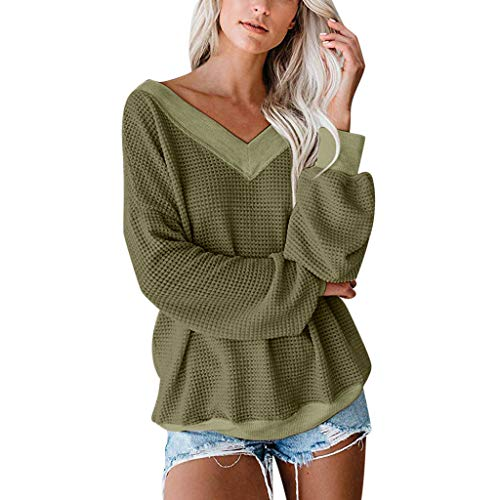 Deep lovly Ladies Top Womens Fashion Pullover Knit Tops Drop Shoulder Long Sleeves Loose Shirts Patchwork Fashion Plaid Shirt Solid Daily Simple Soft Comfortable Blouses Hoodie Sweater (Crewneck Knit Top)