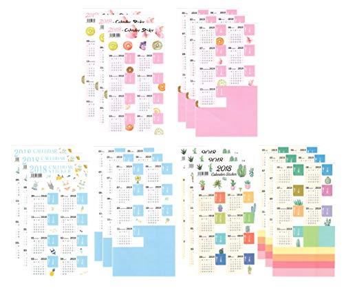 Funcoo Set von 9 2019 Kalender-Planer Aufkleber für Bullet Journal Planer, Monatliche Register, selbstklebende Tabs Aufkleber Style-1