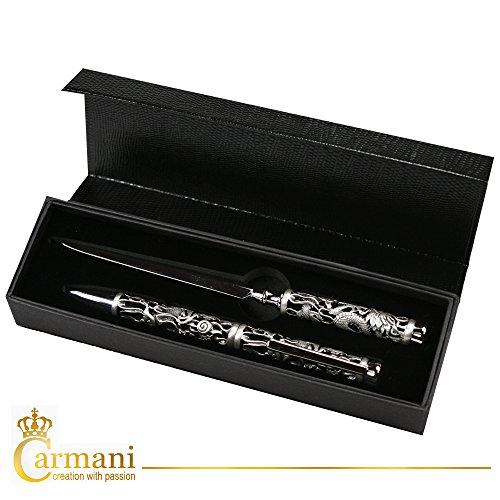 Carmani - Kugelschreiber und Brieföffner mit 3D-Metall-Drachen-Muster