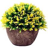 Flores Plantas de Orquídeas Artificiales Deja Bonsai Macetas Jardín Casa Adorno Hogar - Amarillo