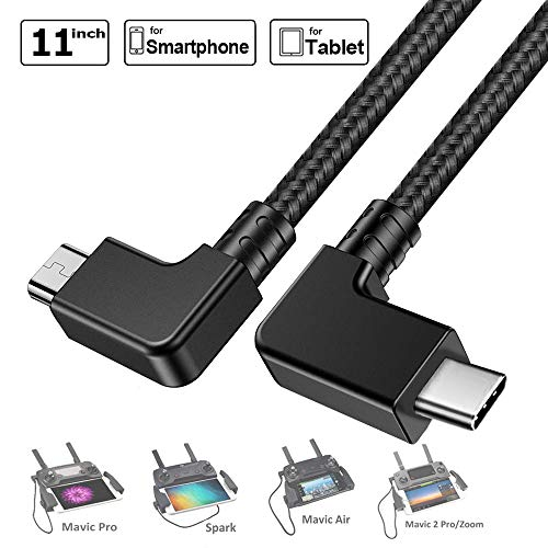 Zoom Drone Fits iOS 15cm Lightning Cable PENIVO Remote Control USB Data Cable Connecting Phone Tablet Connector Line Nylon Braided Lightning to Micro-USB Cable For DJI Mavic Pro Android Cellphone and Tablets Spark //Mavic 2 Pro