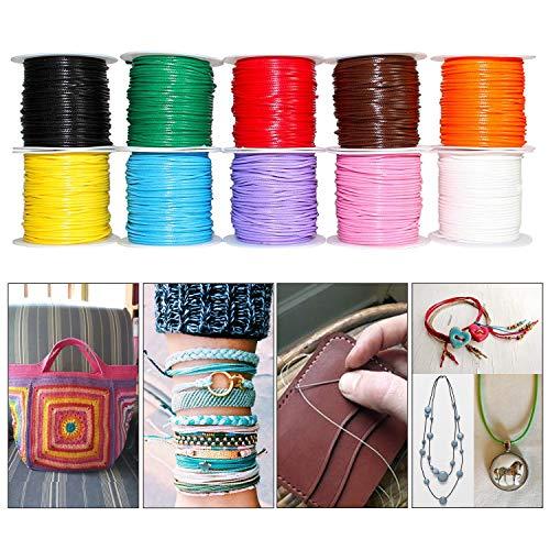 10-teiliges Buntes Gewachstes Baumwollschnur Set - 1mm (10m) Wachsband für Halskette, Makramee Armband Schnur, Shamballa Armband Kordel - für Handwerke und Hochzeits-Dekor - Bastelschnur