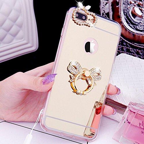 iPhone 7 Plus Coque en Silicone Diamant,iPhone 7 Plus Étui Souple Luxe,JAWSEU Ultra Slim Cristal Clair Bling Brillant Miroir Couronne Ring Stand Holder TPU Téléphone Coque Coquille de protection pour  Or/Cravate